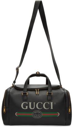 Gucci Black Logo Print Duffle Bag