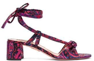 Aquazzura Delicieuse Disco Jacquard Sandals - Womens - Pink Multi