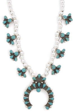Handmade In Mexico Sterling Silver Squash Blossom Necklace