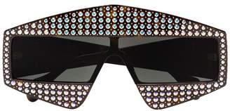 Gucci crystal tortoiseshell rectangular-frame sunglasses
