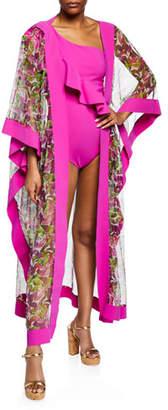 Chiara Boni Candela Printed Silk Tulle Kimono