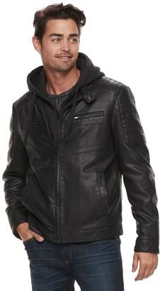 Apt. 9 Men's Midweight Hooded Moto Jacket