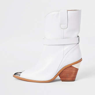 River Island White leather western ankle boots