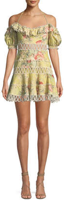Zimmermann Melody Off-the-Shoulder Floral Mini Dress