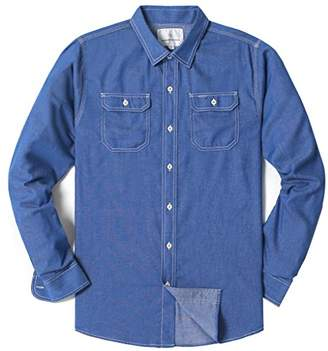 Chain Stitch Men's Long Sleeve Flap Pocket Casual Chambray Cotton Shirt