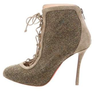 Christian Louboutin Tweed Lace-Up Booties