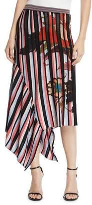 Etro Striped Asymmetric Mid Skirt