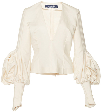 Jacquemus Structured Bishop Sleeve Blouse $510 thestylecure.com