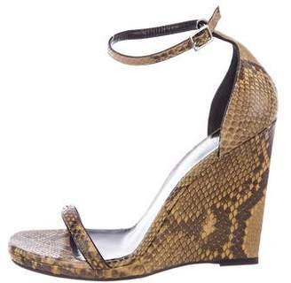 Saint Laurent Jane Python Wedge Sandals