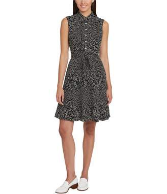 Tommy Hilfiger Womens Black Tie Printed Sleeveless Collared Above The Knee Shirt Dress Dress US Size: