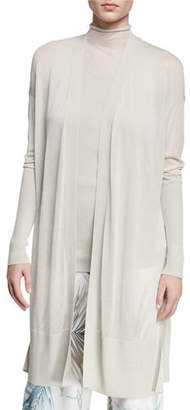 Lafayette 148 New York Open-Front Long-Sleeve Semisheer Voile Duster Cardigan