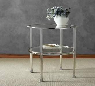 Pottery Barn Tanner Round End Table, Polished Nickel
