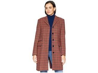 Lauren Ralph Lauren Plaid Wool Blend Trench Coat