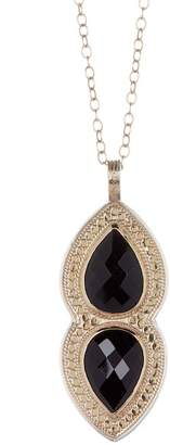 Anna Beck 18K Gold Plated Sterling Silver Black Onyx Double Drop Pendant