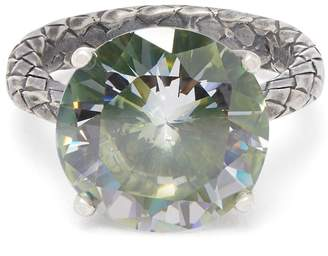 Bottega Veneta Cubic-zirconia and silver Intrecciato ring