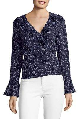 Design Lab Ruffled Bell-Sleeve Wrap Top