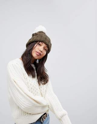 Brave Soul Brave Sould Cable Hat with Knitted Bobble in Khaki
