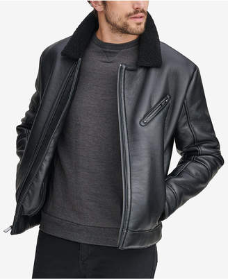 Andrew Marc Men Maxton Asymmetrical Moto Jacket with Faux-Shearling Collar