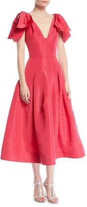 Oscar de la Renta V-Neck Bow-Shoulder Fit-and-Flare Tea-Length Silk Faille Cocktail Dress