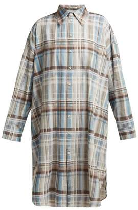Acne Studios Checked Cotton Shirtdress - Womens - Blue Multi