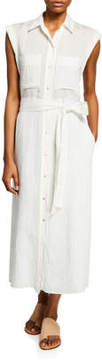 Vince Button-Front Rolled-Sleeve Shirtdress