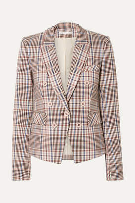 Veronica Beard Diego Dickey Double-breasted Houndstooth Cotton-blend Blazer - Brown