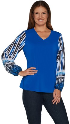 Belle By Kim Gravel Belle by Kim Gravel Printed Sleeve V-Neck Blouse