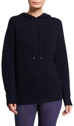 Max Mara Leisure Ribbed Wool Hooded Sweater