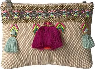 Steve Madden Marcia Tassels Embroidered Boho Fabric Clutch Crossbody