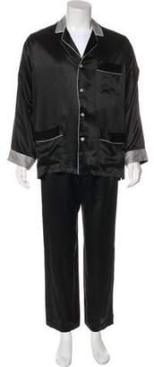 Battaglia Silk Two-Piece Cuffed Pajama Set