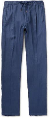 Lardini Tapered Pleated Linen Drawstring Trousers