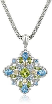 Sterling Silver and 14k Yellow Gold Blue Topaz and Peridot Pendant Necklace