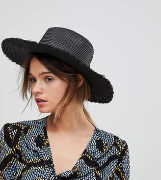 South Beach Black Straw Fedora Hat