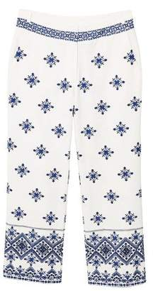 MANGO Embroidered cotton trousers