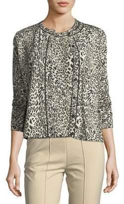Escada Leopard Virgin Wool Cardigan