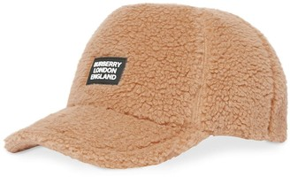 Burberry Logo Detail Faux Fur Baseball Cap