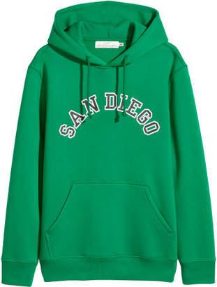 H&M Hooded Sweatshirt with Motif - Green
