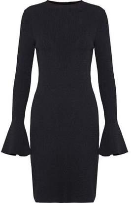 Maje Robinson Metallic Ribbed-Knit Mini Dress