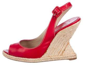 Christian Louboutin Leather Espadrille Wedges