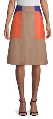 BOSS Seplea Colorblock Leather A-Line Skirt