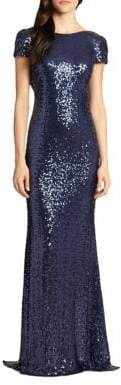 Badgley Mischka Sequin Cowl-Back Gown