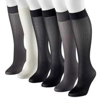 Apt. 9 Women's 6-pk. Assorted Herringbone Knit Trouser Socks