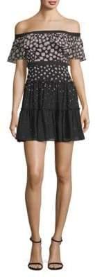 BCBGMAXAZRIA Off-The-Shoulder Ruffle Mini Dress