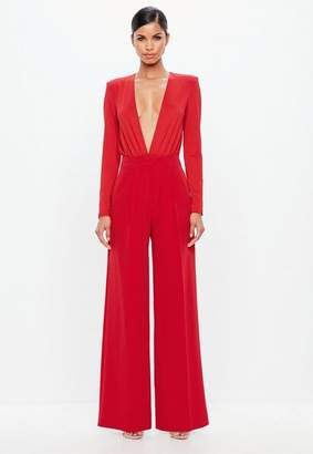 Missguided Red Wide Leg Crepe Pants