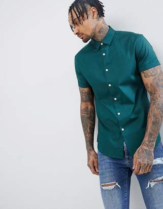 Asos Design Slim Shirt In Green With Short Sleeves