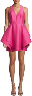 Halston Halter-Neck Dramatic Flounce Skirt Mini Dress