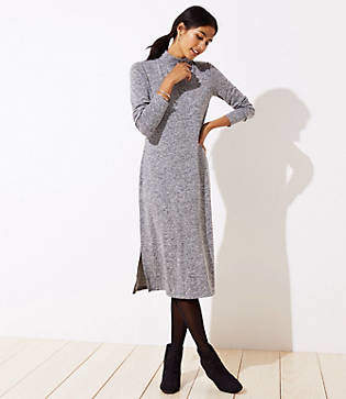 LOFT Melange Mock Neck Dress