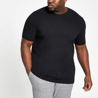 River Island Mens Big and Tall Black muscle fit T-shirt