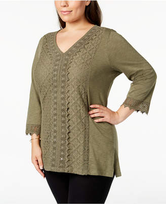 JM Collection Plus Size Lace-Trim Tunic, Created for Macy's