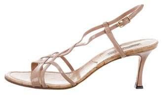 Manolo Blahnik Patent Leather Mid-Heel Sandals